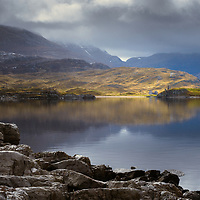 The ruins of Calda House and Ardvreck Castle, Loch Assynt, Sutherland
