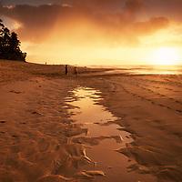 North Shore Beach Oahu-Log Cabins at sunset