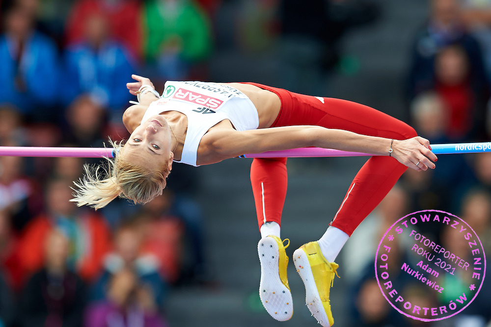 Joanna Kasprzycka of Poland competes in women's high jump qualification during the Fourth Day of the European Athletics Championships Zurich 2014 at Letzigrund Stadium in Zurich, Switzerland.<br /> <br /> Switzerland, Zurich, August 15, 2014<br /> <br /> Picture also available in RAW (NEF) or TIFF format on special request.<br /> <br /> For editorial use only. Any commercial or promotional use requires permission.<br /> <br /> Photo by &copy; Adam Nurkiewicz / Mediasport