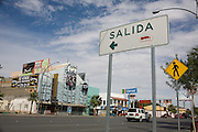 """.A sign reading salida or exit points to the old """"Live 33"""" in Juarez Mexico on Saturday, Oct. 10, 2009.."""