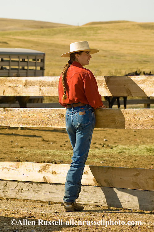 Montana cowgirl and horse trainer Elizabeth Parker at Leachman Hairpin Cavvy horse sale, southeast of Billings Montana