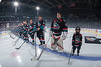 KELOWNA, CANADA - SEPTEMBER 22: The Kelowna Rockets and the Pepsi Player of the game line up on the blue line for home opener against the Kamloops Blazers on September 22, 2017 at Prospera Place in Kelowna, British Columbia, Canada.  (Photo by Marissa Baecker/Shoot the Breeze)  *** Local Caption ***