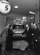 Renault 5, Launch in Dublin  (G20)..1974..25.01.1974..01.25.1974..25th January 1974..At the Burlington Hotel ,Dublin, Renault Ireland unveiled their newest addition to the fleet of cars in the Renault range. The Renault 5 will fill a niche in the small car market and is competitively priced at £1495. .At the unveiling of the new Renault 5 today,car dealers from around the country admire the new model.