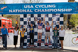 Women's division 1 individual omnium winners Carla Swart (Lees-McRae College), Anna McLoon (Harvard University), Julie Bellerose (University of Michigan - Ann Arbor), Amanda Miller (Colorado State University), and Amy Dombroski (Fort Lewis College).  Podium awards were given out after The 2008 USA Cycling Collegiate National Championships Criterium event held in Fort Collins, CO on May 11, 2008.