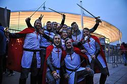 © London News Pictures. Paris, France. 19/03/2016: Fans celebrating England's victory at Stade de France against France, where England completed the Grand Slam. Photo credit: Guilhem Baker/LNP