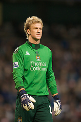 MANCHESTER, ENGLAND - Monday, February 25, 2008: Manchester City's goalkeeper Joe Hart during the Premiership match against Everton at the City of Manchester Stadium. (Photo by David Rawcliffe/Propaganda)