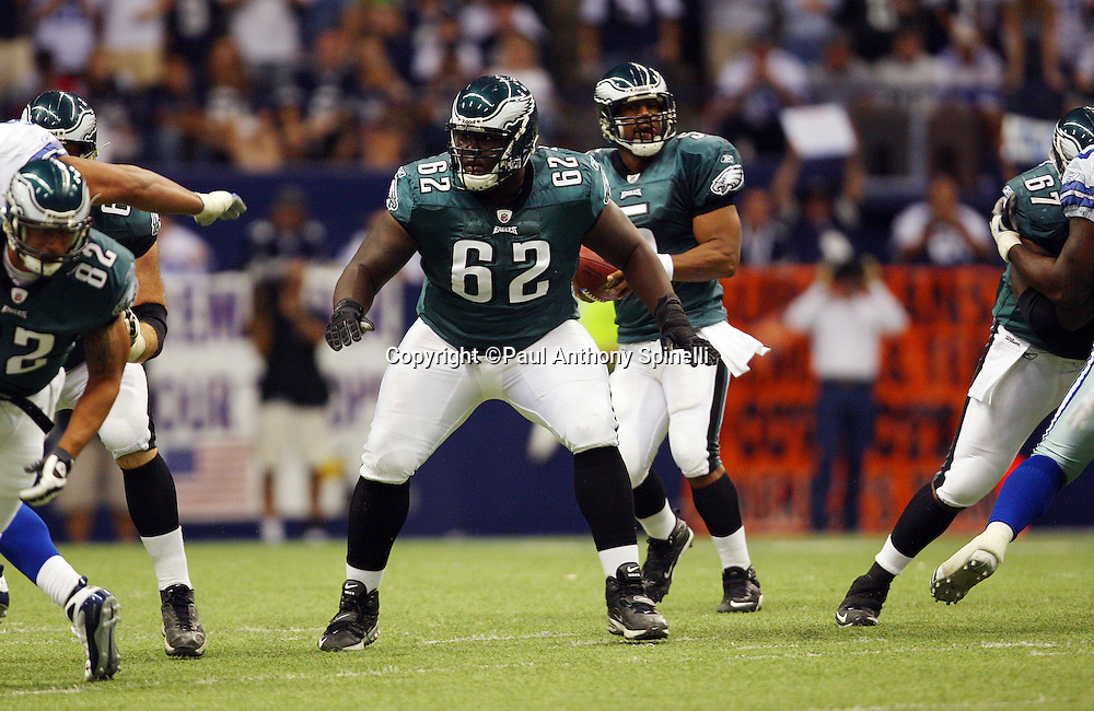 IRVING, TX - SEPTEMBER 15:  Guard Max Jean-Gilles #62 of the Philadelphia Eagles pass blocks during the game against the Dallas Cowboys at Texas Stadium on September 15, 2008 in Irving, Texas. The Cowboys defeated the Eagles 41-37. ©Paul Anthony Spinelli *** Local Caption *** Max Jean-Gilles