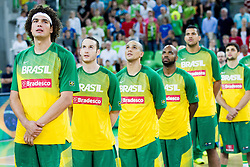 Anderson Varejao of Brasil and other players of Brasil listening to the nation anthem during friendly basketball match between National Teams of Slovenia and Brasil at Day 2 of Telemach Tournament on August 22, 2014 in Arena Stozice, Ljubljana, Slovenia. Photo by Vid Ponikvar / Sportida