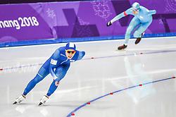 February 23, 2018 - Pyeongchang, Gangwon, South Korea - Cha Min Kyu of South Korea and Fedor Mezentsev of Kazakhstan in 1000 meter speedskating at winter olympics, Gangneung South Korea on February 23, 2018. (Credit Image: © Ulrik Pedersen/NurPhoto via ZUMA Press)