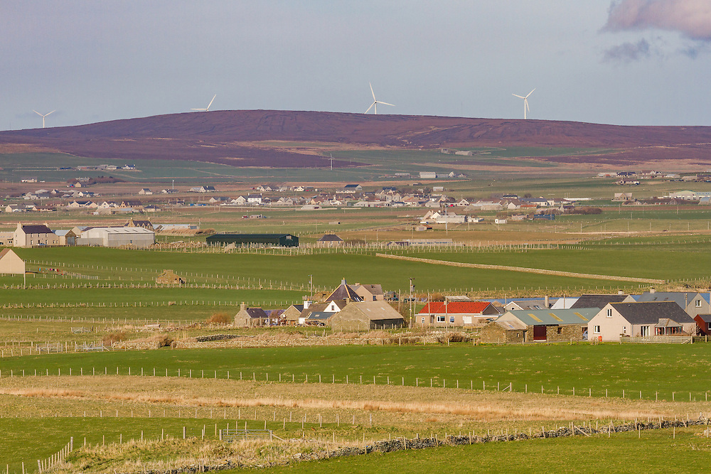 Rural countryside scene overlooking fields on mainland Orkney.