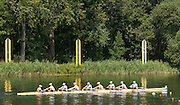 2006, U23 Rowing Championships, Hazewinkel, BELGIUM Friday, 21.07.2006. Crews pass behind the start tower.  Photo  Peter Spurrier/Intersport Images email images@intersport-images.com....[Mandatory Credit Peter Spurrier/ Intersport Images] Rowing Course, Bloso, Hazewinkel. BELGUIM