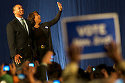 October 16, 2010 - Massachusetts Governor Deval Patrick poses with his wife Diane after being introduced at a reelection campaign rally at the Hynes Convention Center in Boston. Photo by Lathan Goumas, COM 2011.