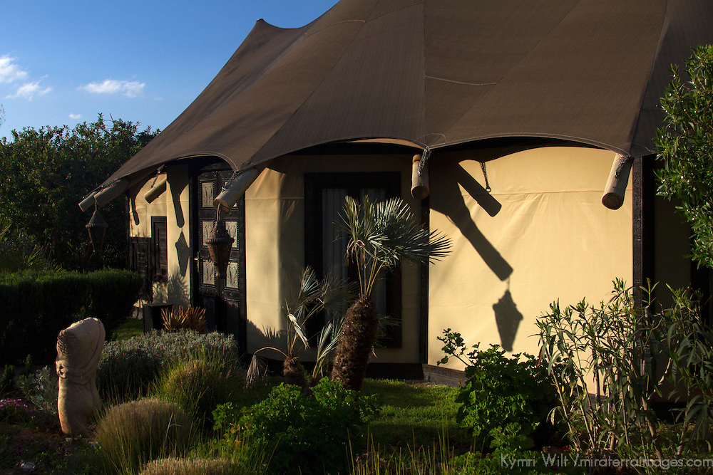 Africa, Morocco, Asni. Berber Tent at Richard Branson's Kasbah Tamadot luxury retreat in the Atlas Mountains.