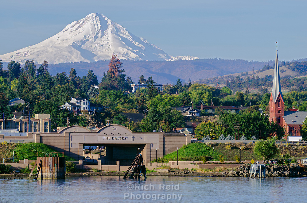 Mount Hood and the Columbia River at The Dalles, Oregon.