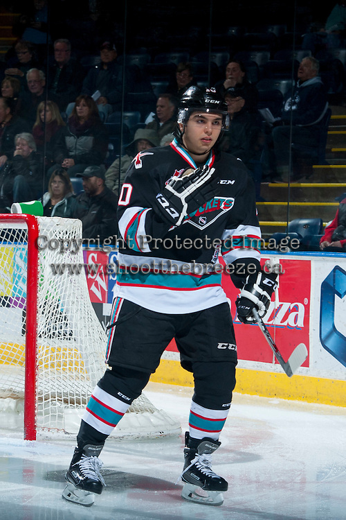 KELOWNA, CANADA - DECEMBER 2: Nick Merkley #10 of Kelowna Rockets skates against the Kootenay Ice on December 2, 2015 at Prospera Place in Kelowna, British Columbia, Canada.  (Photo by Marissa Baecker/Shoot the Breeze)  *** Local Caption *** Nick Merkley;
