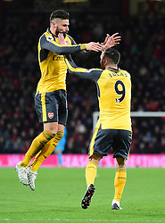 Lucas of Arsenal celebrates with Olivier Giroud of Arsenal - Mandatory by-line: Alex James/JMP - 03/01/2017 - FOOTBALL - Vitality Stadium - Bournemouth, England - Bournemouth v Arsenal - Premier League