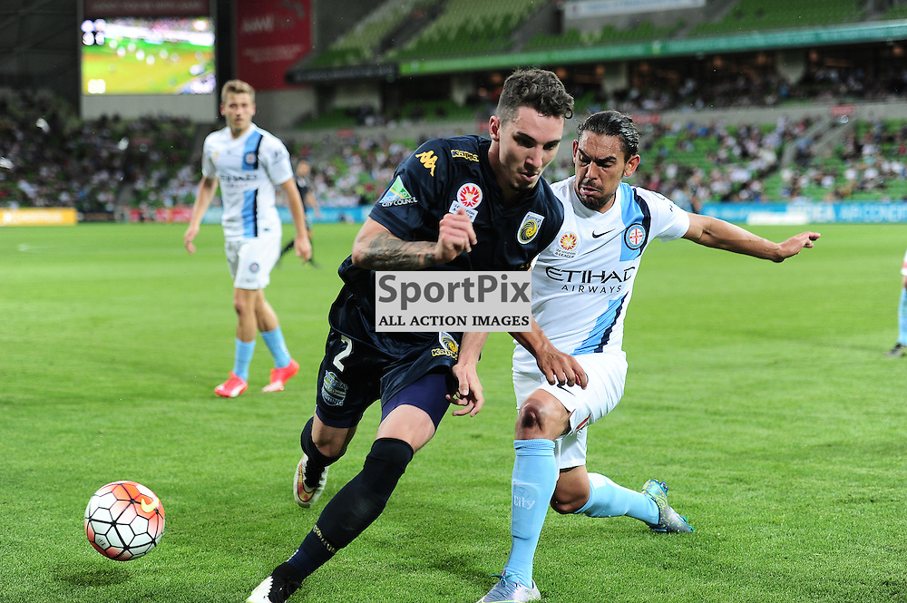 Storm Roux of Central Coast Mariners, David Williams of Melbourne City - Hyundai A-League,  25th October 2015, RD 3, Melbourne City FC v Central Coast Mariners with a win to City 3:1 © Mark Avellino | SportPix.org.uk