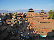 Patan, Nepal - November 28, 2005: Durbar Square in the ancient city of Patan, Unesco World heritage site, Nepal.
