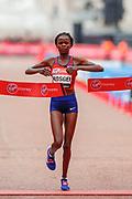 Brigid Kosgei (Kenya) winning the Elite Women's race in the Virgin Money 2019 London Marathon, London, United Kingdom on 28 April 2019.