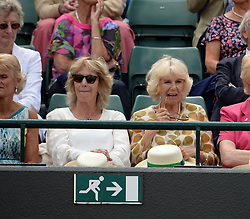 © Licensed to London News Pictures. 25/06/2014. LONDON, UK Wimbledon Tennis Championships 2014<br /> Day 3. Camilla Parker-Bowles with her sister Annabel while watching Andrew Murray, GBR during his victory over Blaz Rola, SLO.  Photo credit : Mike King/LNP