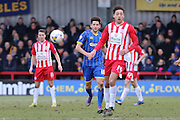 Connor Smith defender for AFC Wimbledon (18) in action during the Sky Bet League 2 match between AFC Wimbledon and Accrington Stanley at the Cherry Red Records Stadium, Kingston, England on 5 March 2016. Photo by Stuart Butcher.