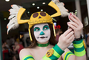 UNITED KINGDOM, London: 26 May 2019 <br /> A cosplayer checks her make-up at the London ExCeL during the final day of the MCM London Comic Con. The three day comic convention is being held at London ExCeL from Fri 24th - Sun 26th of May.