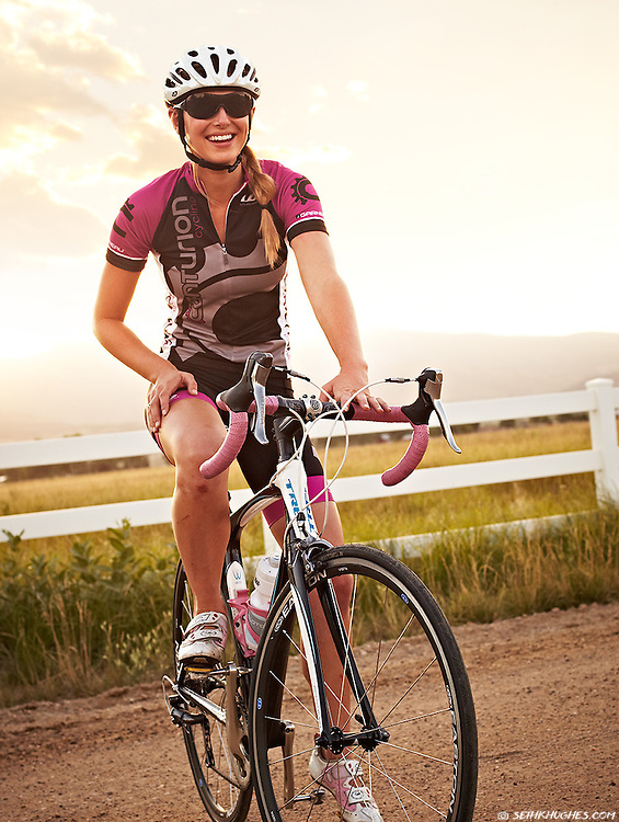 Ryann Fraser and her road bike on the backroads of Boulder, Colorado.