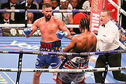 Tony Bellew has David Haye on the ropes at the O2 Arena, London, United Kingdom on 5 May 2018. Picture by Phil Duncan.