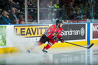 KELOWNA, CANADA - APRIL 8: Keegan Iverson #13 of the Portland Winterhawks stops on the ice against the Kelowna Rockets on April 8, 2017 at Prospera Place in Kelowna, British Columbia, Canada.  (Photo by Marissa Baecker/Shoot the Breeze)  *** Local Caption ***