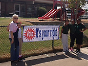 Parents and students at Hobby Elementary decorated their campus to promote early voting.<br />