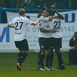 Team mates rush to celebates with Dover's midfielder Bedsenté Gomis after he put the home side ahead in the first half during the National League match between Dover Athletic FC and Hartlepool United FC at Crabble Stadium, Kent on 24 November 2018. Photo by Matt Bristow.
