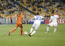 September 14, 2017 - Kiev, Ukraine - Bruno Dita of Skenderbeu vies Derlis Gonzales of Dynamo during the UEFA Europa League Group B football match between FC Dynamo Kiev and KF Skenderbeu at the Olimpiyskyi Stadium in Kiev on September 14, 2017. (Credit Image: © Sergii Kharchenko/NurPhoto via ZUMA Press)