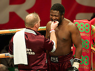 Picture by Alan Stanford/Focus Images Ltd +44 7915 056117<br /> 14/11/2013<br />  Moses Matovu dhas his gumsheild put in before his cruiserweight contest at York Hall, Bethnal Green.