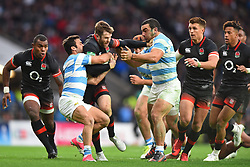 November 11, 2017 - London, England, United Kingdom - England's Elliot Daly tries to evade the tackle of Argentina's Martin Landajo during Old Mutual Wealth Series between England against Argentina at Twickenham stadium , London on 11 Nov 2017  (Credit Image: © Kieran Galvin/NurPhoto via ZUMA Press)