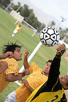 Soccer Players Competing for the Ball