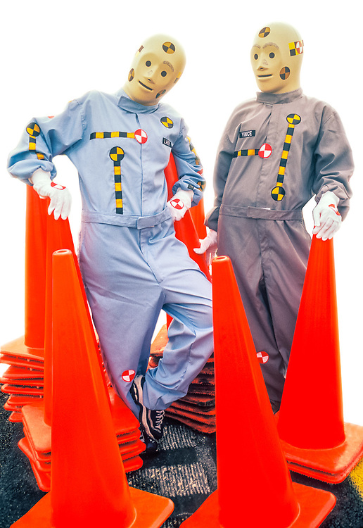 Crash Dummies, Vince and Larry pose with highway safety cones
