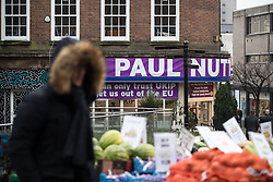 © Licensed to London News Pictures . 28/01/2017 . Stoke-on-Trent , UK . The UKIP shop by the Stoke market . UKIP formally launch their campaign in the by-election in the constituency of Stoke-on-Trent Central , at their new campaign shop at 1 Piccadilly in Stoke , with candidate - and party leader - Paul Nuttall . The seat was vacated when Tristram Hunt resigned . Photo credit : Joel Goodman/LNP