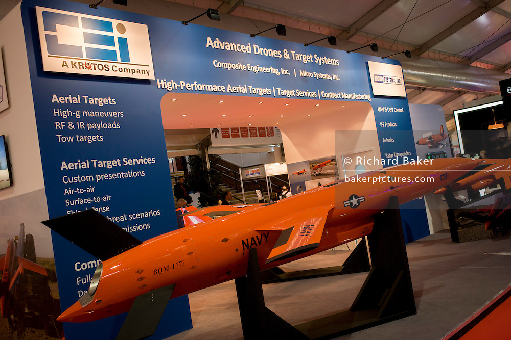 A Kratos BQM-177i drone target at the Farnborough Air Show, England. Based upon the U.S. Navy's BQM-177A, the BQM-177i meets the international community's need for highly dynamic, high-subsonic, sea-skimming, anti-ship cruise missile threat emulation. Capable of speeds in excess of Mach 1 and altitudes above 35,000 feet, the BQM-177i is ideally suited for missions that include testing surface-to-air weapon systems, such as those on naval vessels.