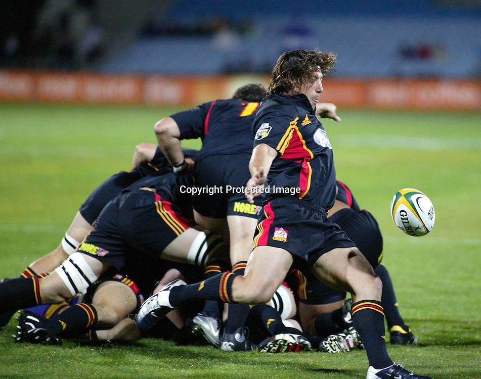 2 April 2004, Rebel Sport Super 12, Highlanders v Cheifs, Carisbrook Stadium, Dunedin, New Zealand.<br /> Chiefs Byron Kelleher kicks the ball up field.<br /> Chiefs defeated Highlanders 36-31.<br /> Please Credit :Photosport.