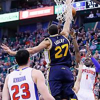 25 January 2016: Utah Jazz center Rudy Gobert (27) goes for the block on Detroit Pistons guard Reggie Jackson (1) during the Detroit Pistons 95-92 victory over the Utah Jazz, at the Vivint Smart Home Arena, Salt Lake City, Utah, USA.