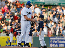 May 24, 2007; Trenton, NJ, USA;  Roger Clemens (22) gives a fist five to a young boy before his start for the  Trenton Thunder (New York Yankees Double-A affiliate) during their Eastern League game against the Portland Sea Dogs at Waterfront Park in Trenton, NJ.