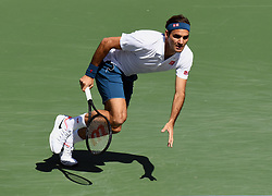 March 15, 2019 - Indian Wells, CA, U.S. - INDIAN WELLS, CA - MARCH 15: Roger Federer (SUI) returns the ball in a quarterfinals match played during the BNP Paribas Open on March 15, 2019 at the Indian Wells Tennis Garden in Indian Wells, CA. (Photo by John Cordes/Icon Sportswire) (Credit Image: © John Cordes/Icon SMI via ZUMA Press)