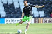 Forest Green Rovers Matt Mills(5) warming up during the EFL Sky Bet League 2 match between Forest Green Rovers and Grimsby Town FC at the New Lawn, Forest Green, United Kingdom on 17 August 2019.