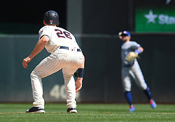 May 2, 2018 - Minneapolis, MN, U.S. - MINNEAPOLIS, MN - MAY 02: Minnesota Twins Outfield Max Kepler (26) tracks the ball being thrown in from the outfield during a MLB game between the Minnesota Twins and Toronto Blue Jays on May 2, 2018 at Target Field in Minneapolis, MN.The Twins defeated the Blue Jays 4-0.(Photo by Nick Wosika/Icon Sportswire) (Credit Image: © Nick Wosika/Icon SMI via ZUMA Press)
