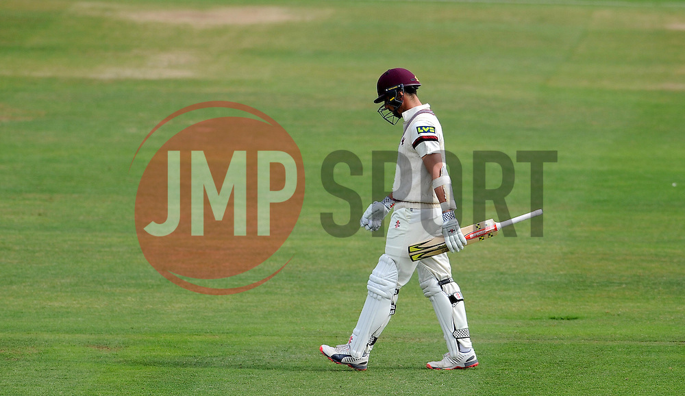 Dejection for Somerset's Tom Cooper after being dismissed. - Photo mandatory by-line: Harry Trump/JMP - Mobile: 07966 386802 - 16/06/15 - SPORT - CRICKET - LVCC County Championship - Division One - Day Three - Somerset v Nottinghamshire - The County Ground, Taunton, England.