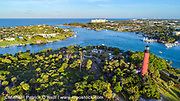 Jupiter Lighthouse and Intracoastal Waterway in northern Palm Beach County, Florida, United States. Image available as a premium quality aluminum print ready to hang.