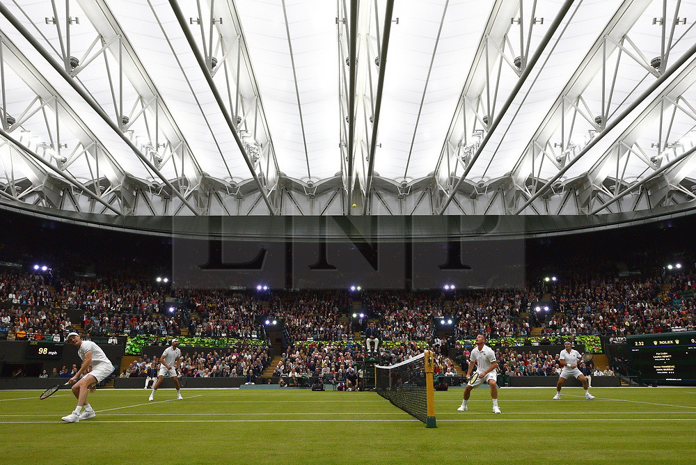 © Licensed to London News Pictures. 19/05/2019. London, UK. Tennis players Jamie Murray, Goran Ivanisevic,Pat Cash and Lleyton Hewitt take part in an exhibition match at the Wimbledon No.1 Court Celebration event. The event marks the unveiling of a retractable roof and extended seating capacity at a cost of £70 million. Photo credit: Ray Tang/LNP