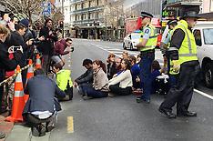 Wellington-TPPA protestors block Lambton Quay