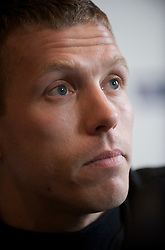 CARDIFF, WALES - Friday, March 27, 2009: Wales' captain Craig Bellamy during a press conference at the Vale of Glamorgan Hotel ahead of the 2010 FIFA World Cup Qualifying Group 4 match against Finland. (Pic by David Rawcliffe/Propaganda)