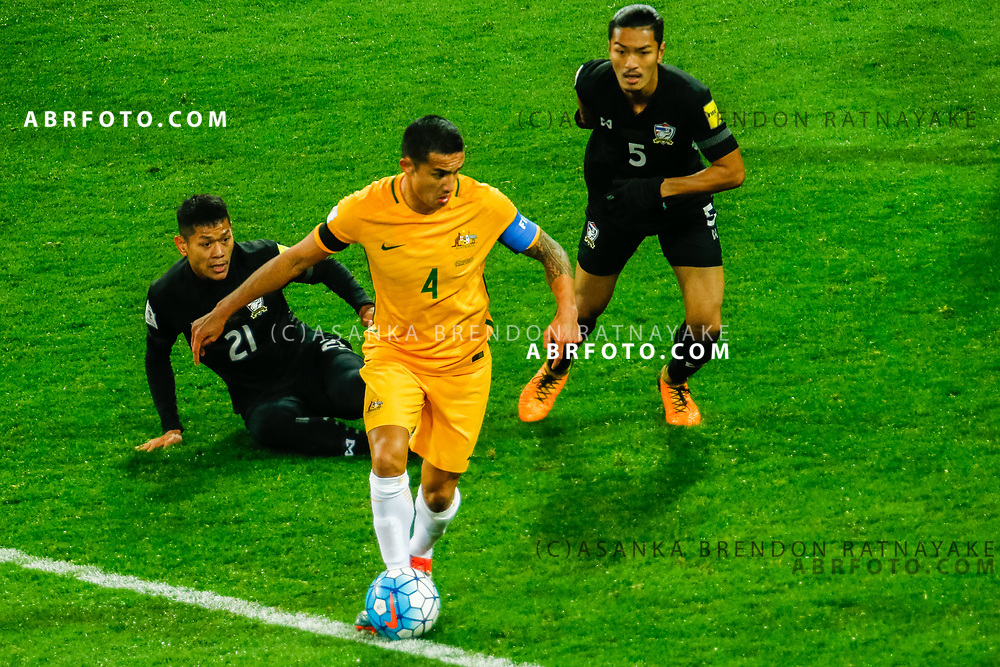 MELBOURNE, AUSTRALIA - SEPTEMBER 5 :  Tim Cahill of the Australia Socceroos controls the ball during the Stage 3 Group World Cup Football Qualifiers between Australia Vs Thailand at the Melbourne Rectangular Stadium, Melbourne, Australia 5 September 2017.